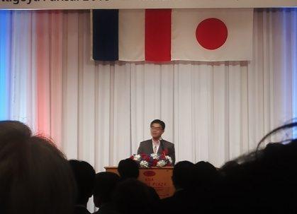 挨拶する愛知県知事大村秀章氏